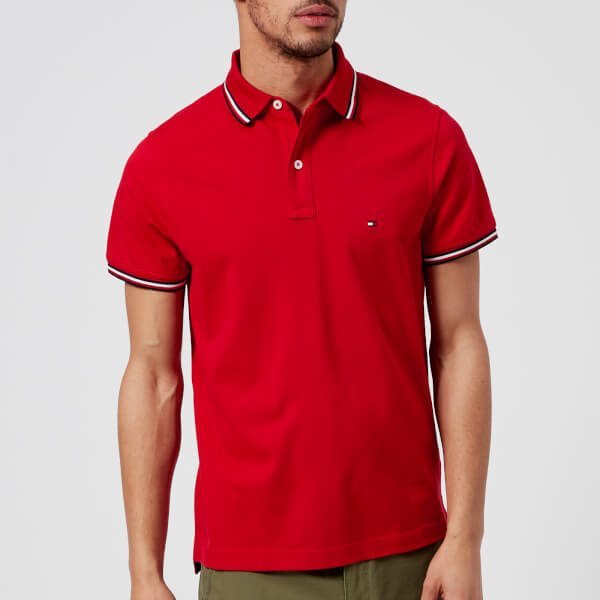 35ef4c1a134333 Tommy Hilfiger Men s Tommy Tipped Slim Polo Shirt - Haute Red  Image 1