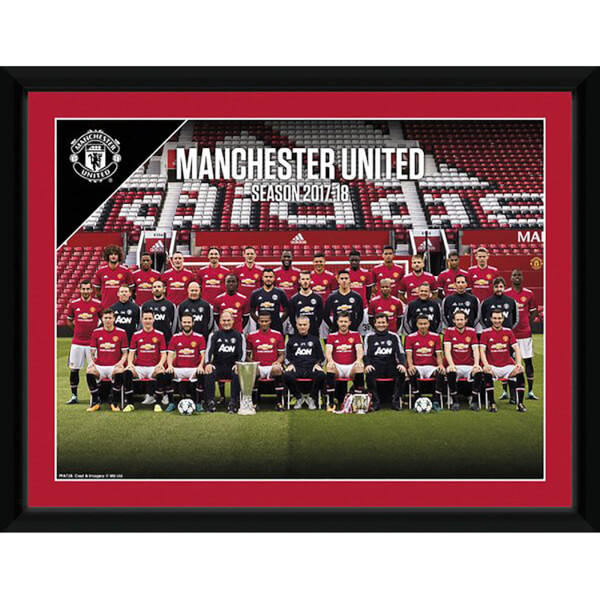Manchester United Team 17/18 Framed Photograph 8 x 6 Inch