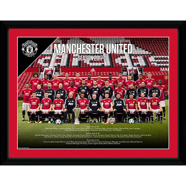 Manchester United Team 17/18 Framed Photograph 12 x 16 Inch