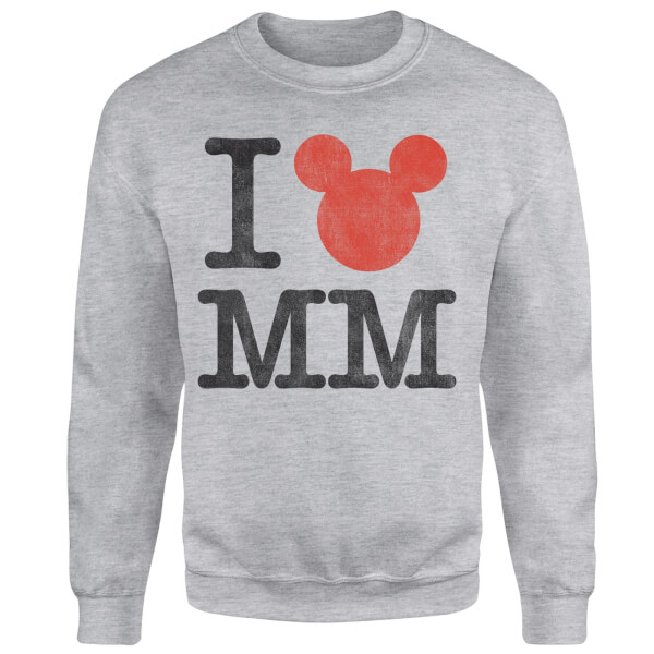 Disney Mickey Mouse I Heart MM Sweatshirt - Grey