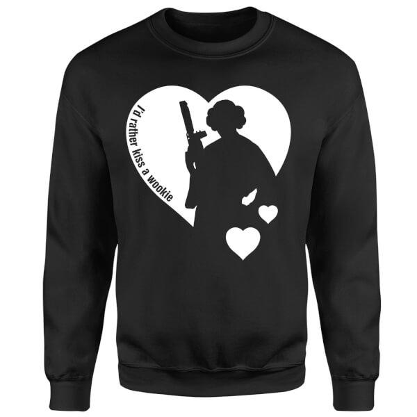 Star Wars Leia I'd Rather Kiss A Wookie Sweatshirt - Black