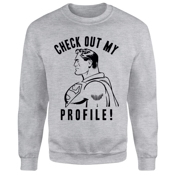 DC Comics Superman Check Out My Profile Sweatshirt - Grey