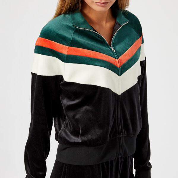 Juicy Couture Women s Colourblock Lightweight Velour Palisades Jacket -  Pitch Black Dark Absinthe Combo 53069100ec