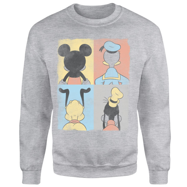 Disney Mickey Mouse Donald Duck Mickey Mouse Pluto Goofy Tiles Sweatshirt - Grey