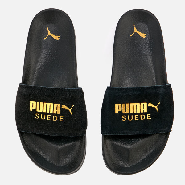 9dac31163d2a9 Puma Leadcat Suede Slide Sandals - Puma Black/Puma Team Gold | FREE ...