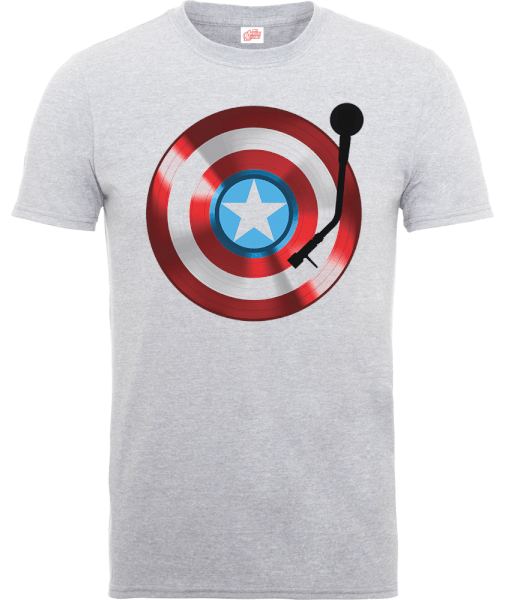 Marvel Avengers Assemble Captain America Record Shield T-Shirt - Grey
