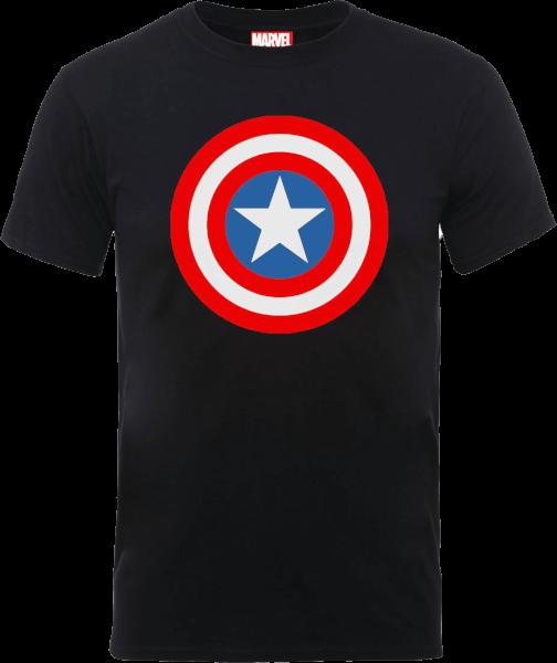 Marvel Avengers Assemble Captain America Simple Shield T-Shirt - Black