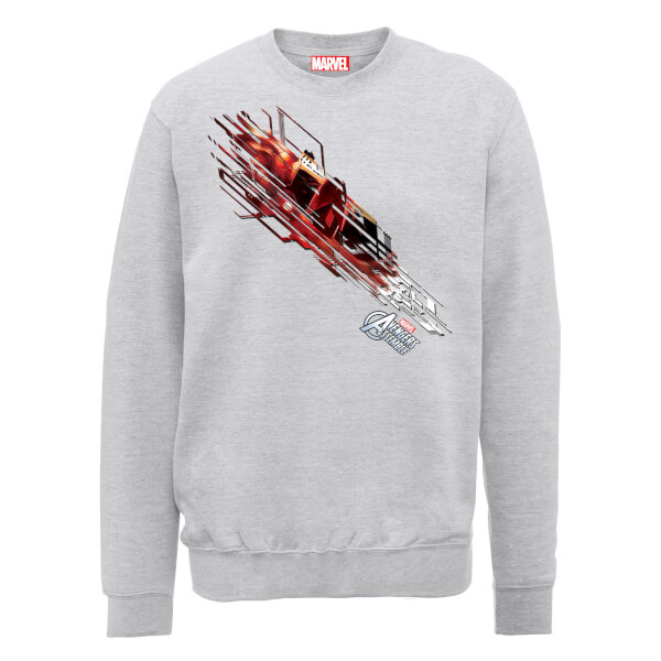 Marvel Avengers Assemble Iron Man Shooting Burst Sweatshirt - Grey