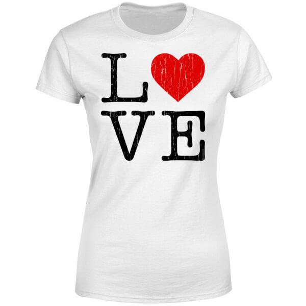 Love Heart Textured Women's T-Shirt - White