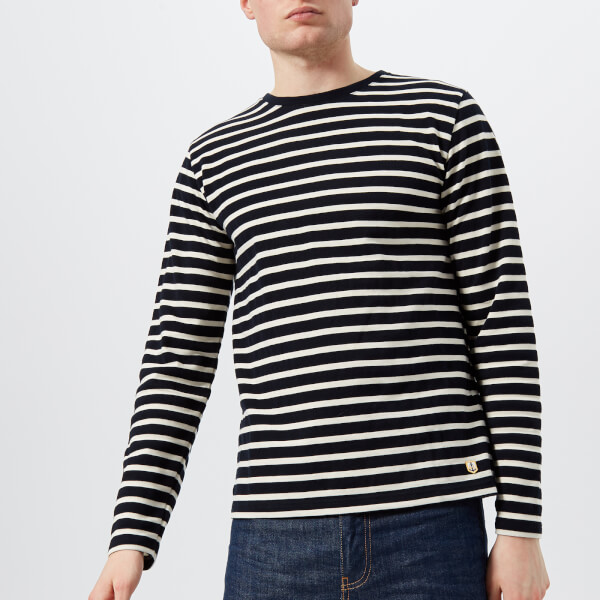 Navy and Cream Stripe Marinière Long-Sleeved Cotton Breton Top Armor Lux Buy Newest 1HFXW7
