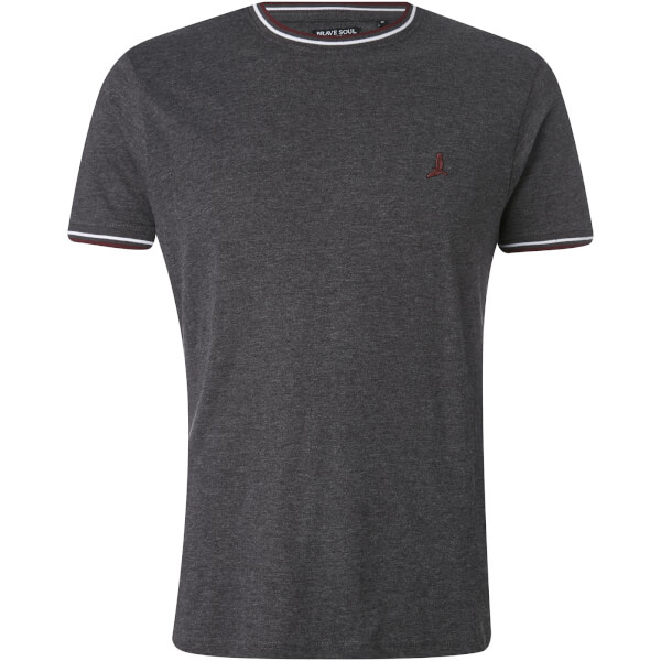 Brave Soul Men's Federer Tipped T-Shirt - Dark Charcoal