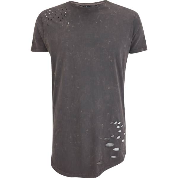 Brave Soul Men's Genko Acid Wash Distressed T-Shirt - Grey