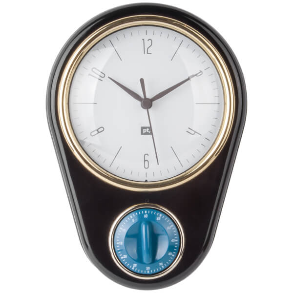 Present Time Retro Wall Clock With Kitchen Timer   Black: Image 1