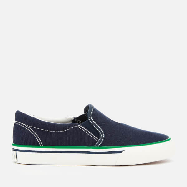 Polo Ralph Lauren Kids' Morees Canvas Slip-On Trainers - Navy/Paperwhite