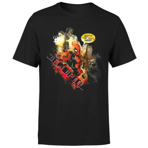 Marvel Deadpool Outta The Way Nerd T-Shirt - Black