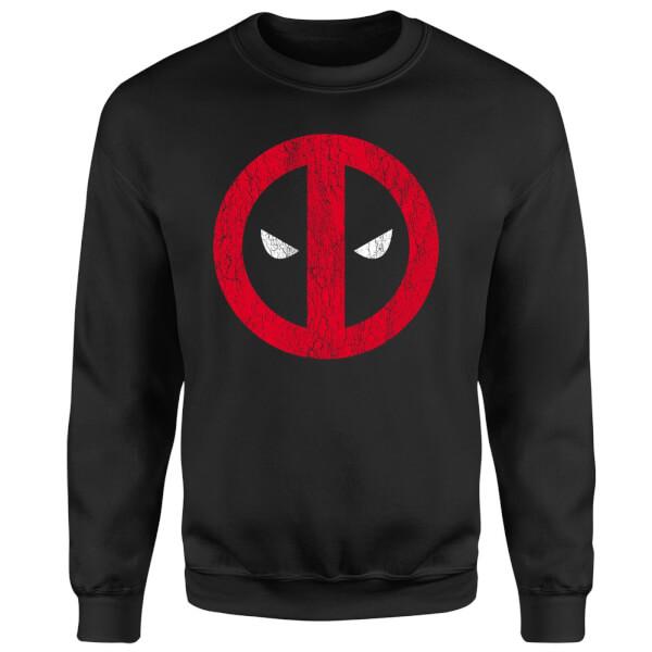Marvel Deadpool Deadpool Cracked Logo Sweatshirt - Black