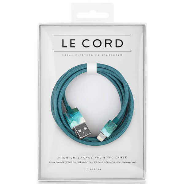 Le Cord Braided Marble Effect Charging Cable - Aquarelle Aqua - 1.2m