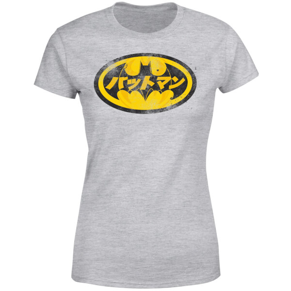 DC Comics Batman Japanese Logo Women\u0027s T-Shirt - Grey