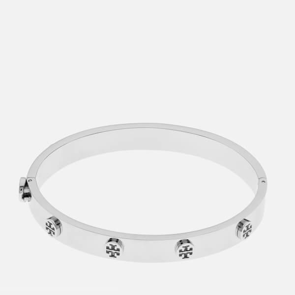 Tory Burch Women's Logo Stud Hinge Bracelet - Silver