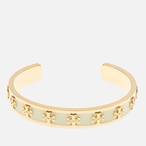 Tory Burch Women's Enamel Raised Logo Cuff Bracelet - New Ivory/Gold