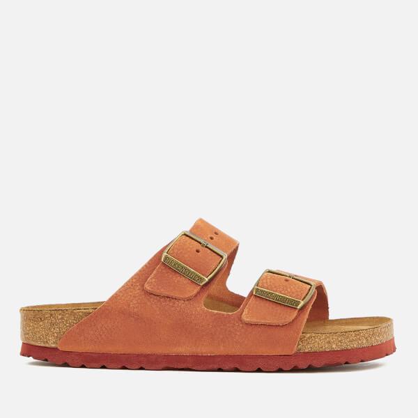Birkenstock Women's Arizona Slim Fit Nubuck Double Strap Sandals - Steer Curry