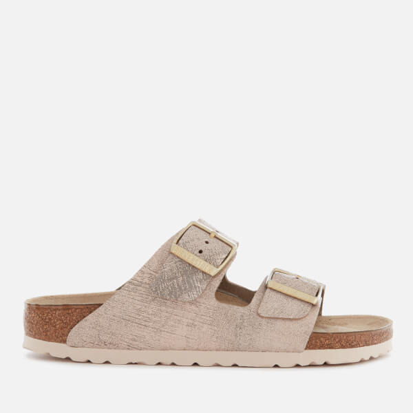 34c317ac48cf Birkenstock Women s Arizona Slim Fit Leather Double Strap Sandals - Washed  Metallic Rose Gold  Image
