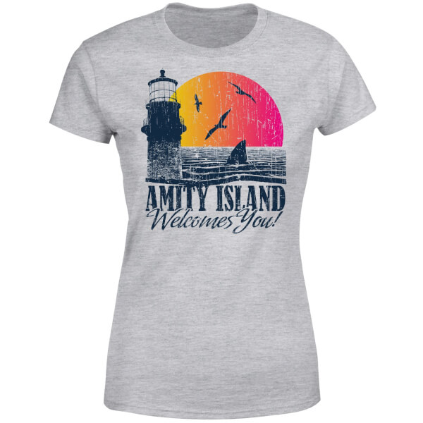 Jaws Welcome To Amity Island Women's T-Shirt - Grey
