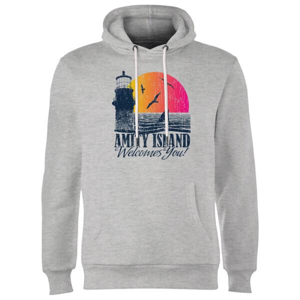 Jaws Welcome To Amity Island Hoodie - Grey Clothing   Zavvi US