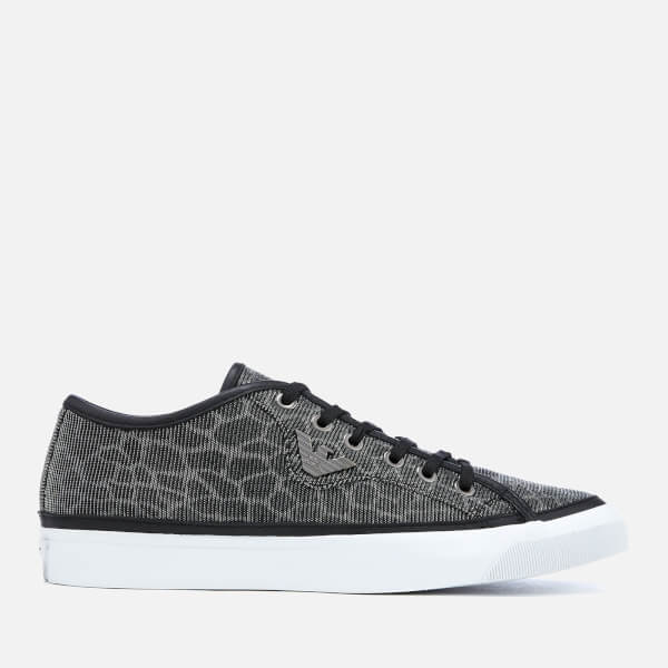 d64f67a9504 Emporio Armani Women s Venus Shimmer Low Top Trainers - Black Silver  Image  1