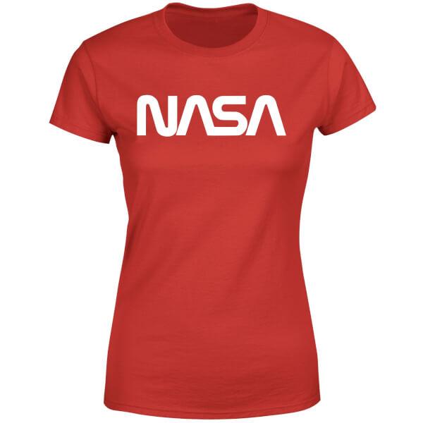 NASA Worm White Logotype Women's T-Shirt - Red