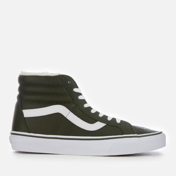 Vans Men's Sk8-Hi Reissue Leather/Fleece Trainers - Olive Night/True White