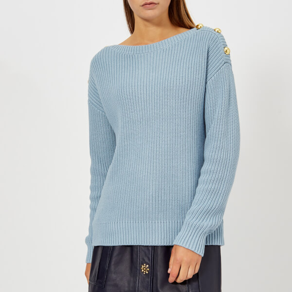 efc7d6aad9fa MICHAEL MICHAEL KORS Women s Boatneck Button Sweater - Blue Womens ...