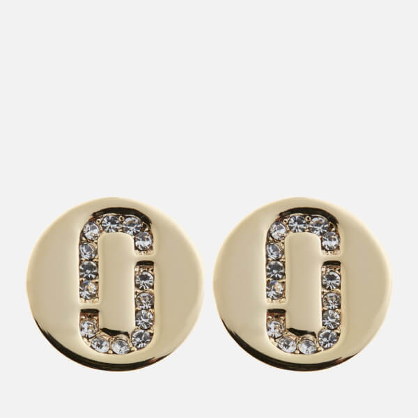 Marc Jacobs Women S Double J Pave Studs Crystal Gold Image 1
