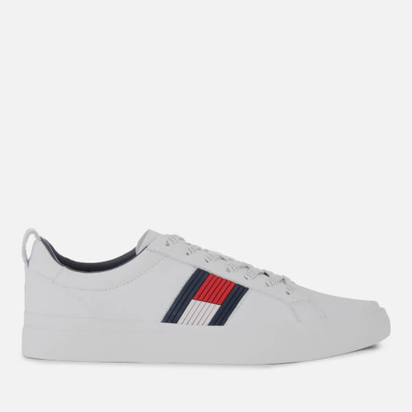 a605443c7 Tommy Hilfiger Men's Flag Detail Leather Trainers - White | FREE UK ...