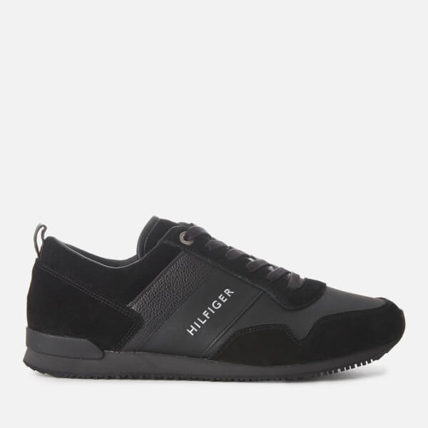 e2fdf645a Tommy Hilfiger Men s Iconic Leather Suede Mix Runner Style Trainers -  Black  Image 1