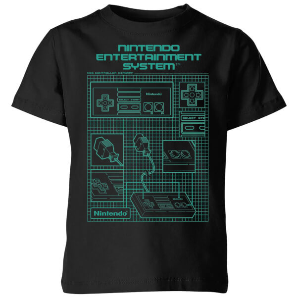 Nintendo NES Controller Blueprint Black Kids' T-Shirt - Black