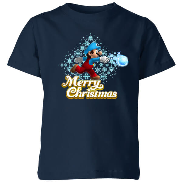Nintendo Super Mario Mario Merry Christmas Snowball Kids' T-Shirt - Navy