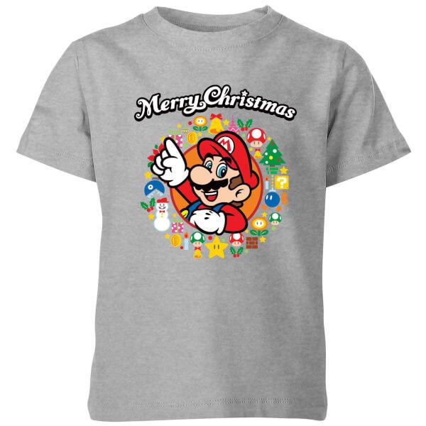 Nintendo Super Mario Mario Merry Christmas Wreath Kids' T-Shirt - Grey