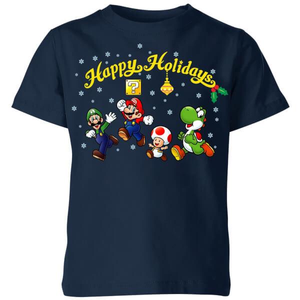 Nintendo Super Mario Good Guys Happy Holidays Kids' T-Shirt - Navy