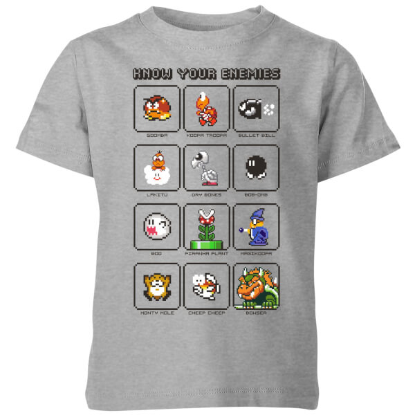 Nintendo Super Mario Know Your Enemies Kids' T-Shirt - Grey