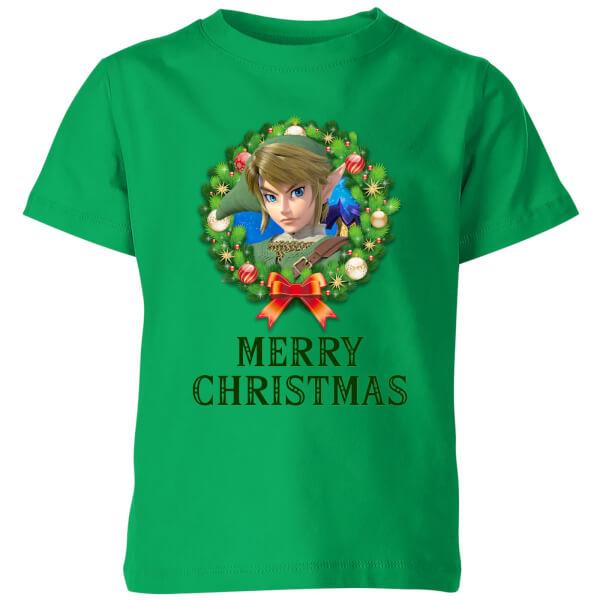 Nintendo The Legend Of Zelda Merry Christmas Wreath Kids' T-Shirt - Kelly Green