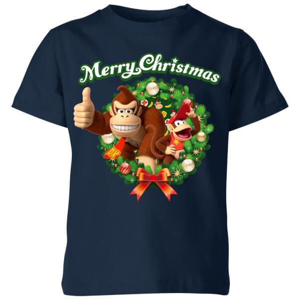 Nintendo Christmas Wreath Thumbs Up Kids' T-Shirt - Navy
