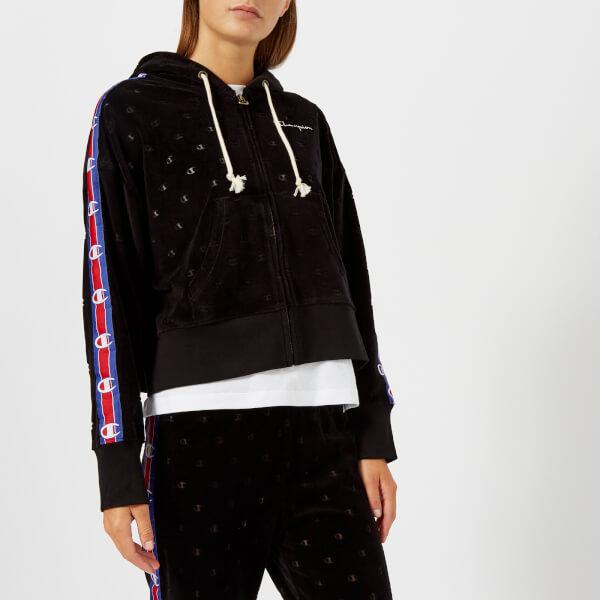 Champion Women's Zip Through Velour Hoody - Black: Image 01