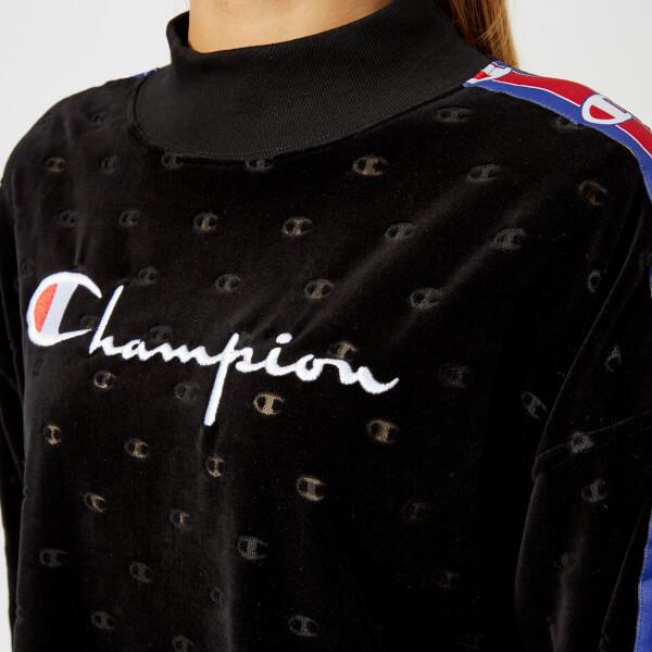 Champion Women's High Neck Velour Sweatshirt - Black: Image 31