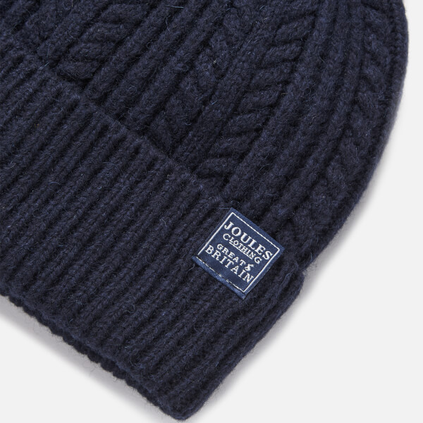 8783fe0fdaf Joules Women s Bobble Hat Fine Cable with Faux Fur Pom - French Navy  Image  3