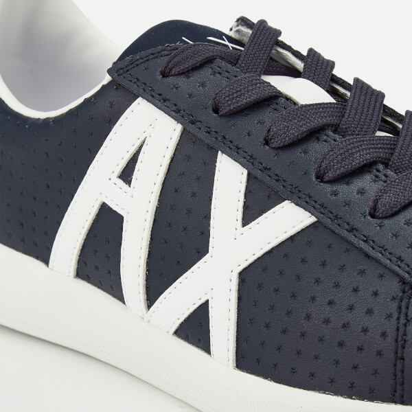 7d1cb4aa91e Armani Exchange Men s Perforated Leather Low Top Trainers - Navy White   Image 4
