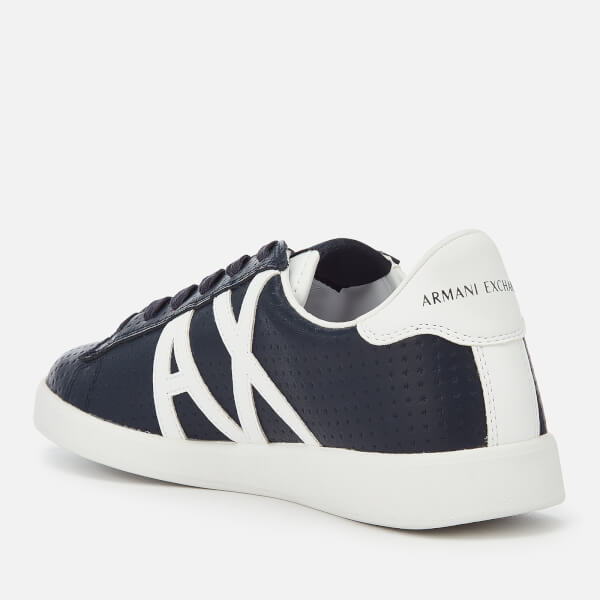 ec2772092938 Armani Exchange Men s Perforated Leather Low Top Trainers - Navy White   Image 2