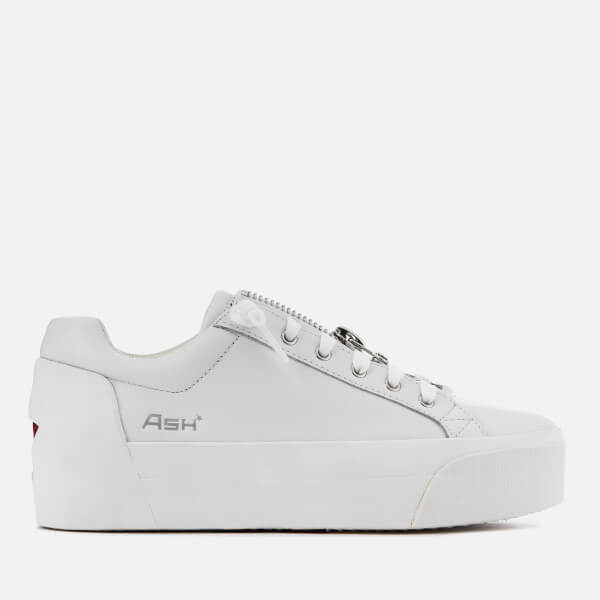 7ee32afaa7f Ash Women s Buzz Leather Flatform Trainers - White Red · View large image