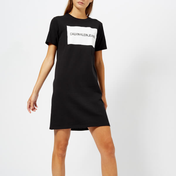 Calvin Klein Jeans Women s Institutional Box Logo T-Shirt Dress - CK Black   Image a2adb1ea4