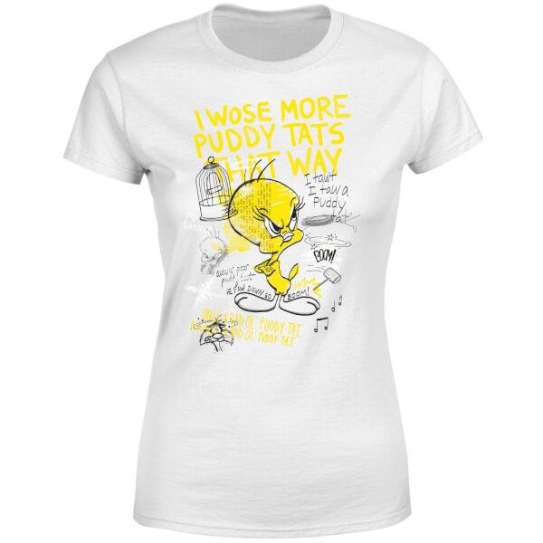 Looney Tunes Tweety Pie More Puddy Tats Women's T-Shirt - White